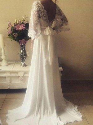Stunning Court Train Long Sleeves V-neck Lace Wedding Dresses with Ribbon_3