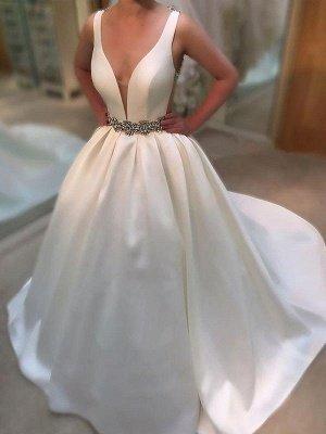 Charming Sleeveless V-neck Court Train Satin Wedding Dresses_2