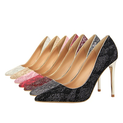 Fashion Pionted Toe High Heel Lace Wedding Shoes_3