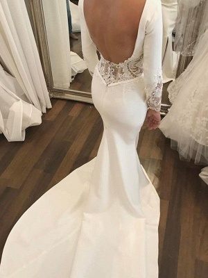 Dazzling Lace Satin Long Scoop Court Train Sleeves Sexy Mermaid Wedding Dresses_4