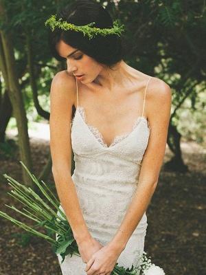 Spaghetti Straps Sweep Train Sleeveless Sexy Mermaid Ruffles Lace Wedding Dresses_1