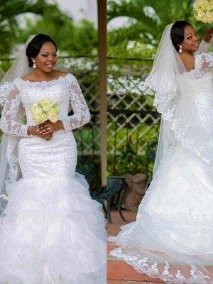 Chapel Train Organza Long Sleeves Square Sexy Mermaid Applique Wedding Dresses_4