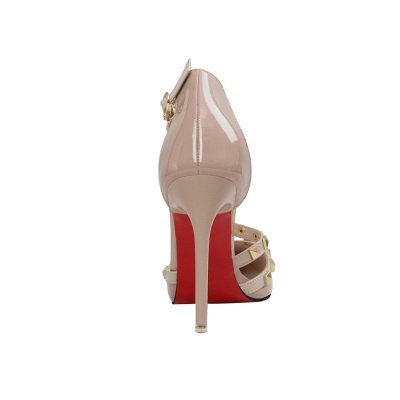 Fashion Pionted Toe High Heel Buckle Wedding Shoes with Rivets_5