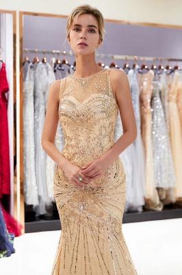 Mermaid Round Neck Sleeveless Keyhole Back Beaded Prom Dress | Evening Dress 2019_1