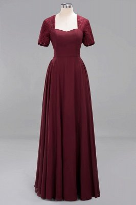 A-Line Chiffon Bridesmaid Dresses | Sweetheart Cap Sleeves Lace Wedding Party Dresses_6