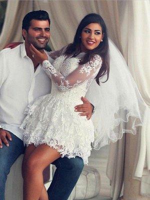 Gorgeous Mini Long Sleeves Scoop Applique Lace Wedding Dresses_1