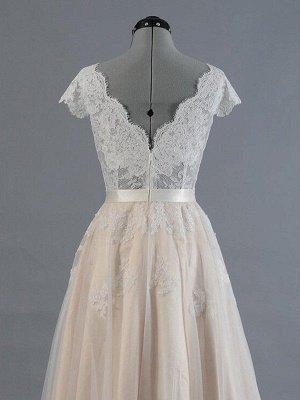 Sweep Train Sleeveless V-neck Applique Lace Wedding Dresses_5