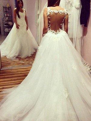 Chapel Train Tulle SleevelessPuffy Applique Sweetheart Wedding Dresses_1