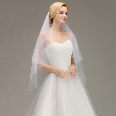 Cut Edge Two Layer Wedding Veil with Comb Simple Soft Tulle Bridal Veil_4
