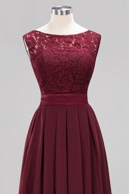 Simple A-Line Chiffon Bridesmaid Dresses   Scoop Sleeveless Lace Appliques Maid of the Honor Dresses_12