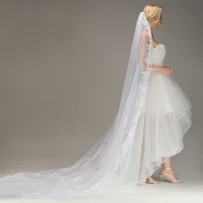 One Layer Wedding Veil with Comb Lace Edge Appliqued Bridal Veil?_4