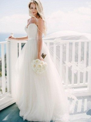 Glamorous Tulle Sweetheart Sweep Train Puffy Sleeveless Wedding Dresses_4