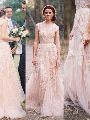 Elegant Tulle  Sleeveless Sweep Train Applique V-neck Wedding Dresses_4