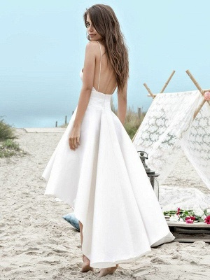 Sleeveless Asymmetrical Satin Spaghetti Straps Ruched Wedding Dresses_3