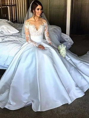 Breathtaking Court Train Puffy Satin Long Sleeves Wedding Dresses_2