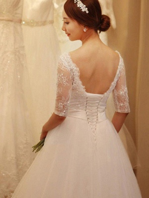 Off-the-Shoulder 1/2 Sleeves Chapel Train Tulle Puffy Beaded Wedding Dresses_3