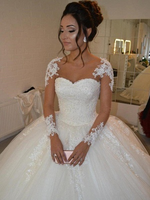 Gorgeous Court Train Tulle Scoop Long Sleeves Applique Puffy Wedding Dresses_1