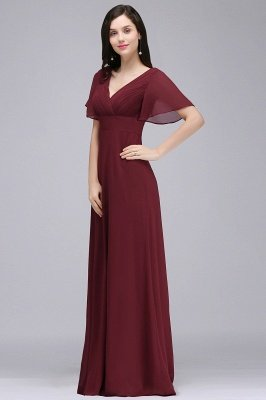 Simple A-Line  V-Neck Short-Sleeves Ruffles Floor-Length Bridesmaid Dresses_3