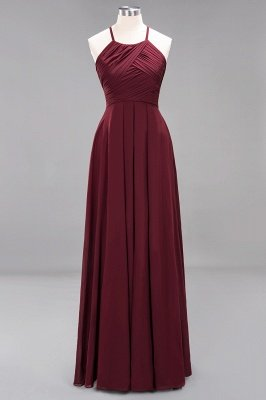 A-Line  Halter Ruffles Floor-Length Bridesmaid Dress_10