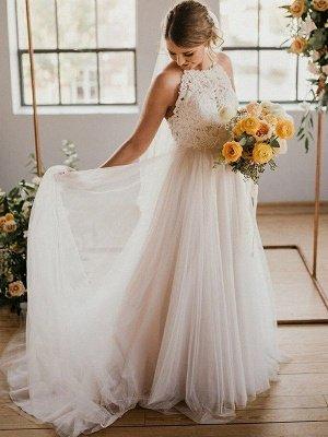 Lace Sleeveless Tulle Floor-Length Halter Wedding Dresses_6