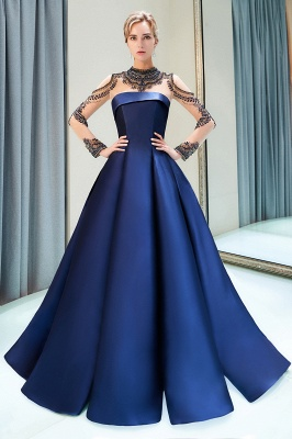 A-Line  Satin High Neckline Beaded Long Sleeve Prom Dress | Evening Gown 2019_1