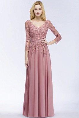 A-line  Appliques V-Neck Long-Sleeves Floor-Length Bridesmaid Dresses