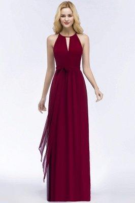 Vintage A-Line  Halter Sleeveless Ruffles Floor-Length Bridesmaid Dresses with Bow Sash