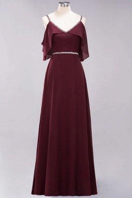 elegant A-line  V-Neck Spaghetti Straps Sleeveless Floor-Length Bridesmaid Dresses with Beading Sash_5