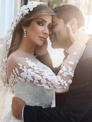 Elegant Long Sleeves Satin Scoop Chapel Train Applique Puffy Wedding Dresses_4