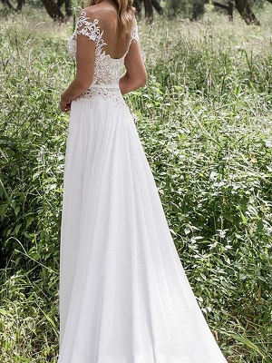 Lace Chiffon Floor-Length Wedding Dresses | Stunning Sleeveless V-neck Bridal Gowns_3