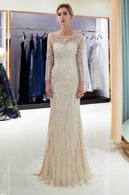 Mermaid Sequined Pattern Long Sleeves Prom Dress | Evening Dresses 2019_1