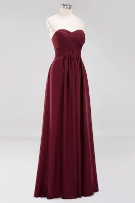 A-line  Sweetheart Strapless Ruffles Floor-length Bridesmaid Dress_45