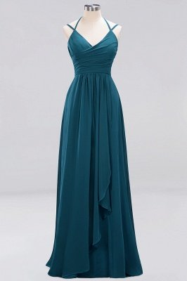 A-line  Spaghetti Straps Sleeveless Ruffles Floor-Length Bridesmaid Dresses_17