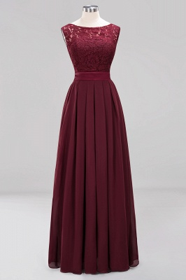Simple A-Line Chiffon Bridesmaid Dresses | Scoop Sleeveless Lace Appliques Maid of the Honor Dresses_9