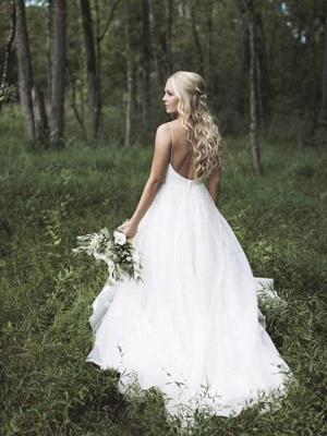 Spaghetti Straps Lace Organza Wedding Dresses | V-neck Sleeveless Court Train Bridal Gowns_1