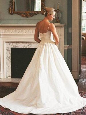 Glamorous V-neck Sleeveless Sweep Train Ruched Satin Wedding Dresses_3