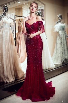 Sparkly Burgundy Crystal Off-the-Shoulder Prom Dress | 2019 Mermaid Evening Dress with Tassels_1
