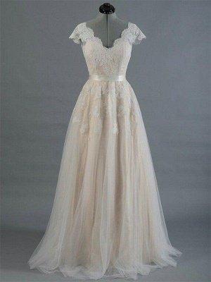 Sweep Train Sleeveless V-neck Applique Lace Wedding Dresses_1
