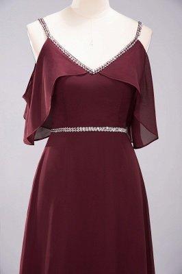 elegant A-line  V-Neck Spaghetti Straps Sleeveless Floor-Length Bridesmaid Dresses with Beading Sash_8