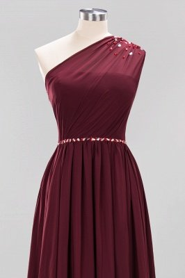 Fashion A-Line One-Shoulder Bridesmaid Dresses | Chiffon Sleeveless Beaded Wedding Party Dresses_17