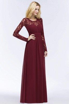 Elegant A-Line  Jewel Long Sleeves Ruffles Floor-Length Bridesmaid Dresses_5