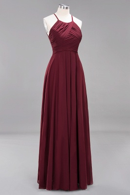A-Line  Halter Ruffles Floor-Length Bridesmaid Dress_43