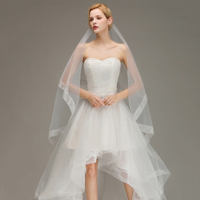 One Layer Cut Edge Wedding Veil Soft Tulle Bridal Veil_3