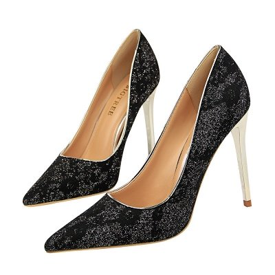 Fashion Pionted Toe High Heel Lace Wedding Shoes_2
