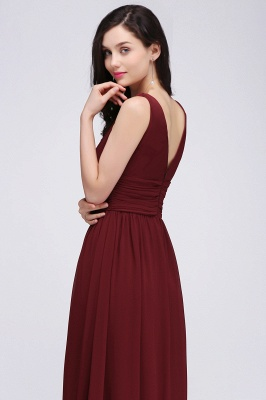 Elegant A-Line  V-Neck Sleeveless Ruffles Floor-Length Bridesmaid Dresses_6