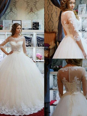 Elegant Floor-Length Scoop Puffy 1/2 Sleeves Tulle Applique Wedding Dresses_1