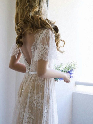 V-neck Sweep Train Short Sleeves Lace Wedding Dresses with Ribbon_4