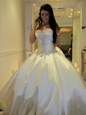 Romantic Taffeta Sleeveless Cathedral Train Ruffles Puffy Sweetheart Wedding Dresses_5