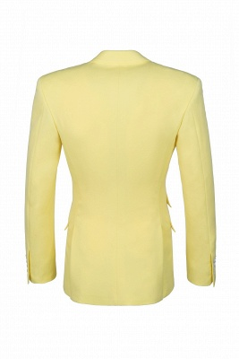 High Quality Peak Lapel Groomsmen Slim Fit Daffodil Single Breasted_3