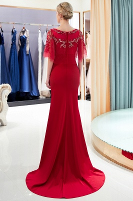 Luxury Mermaid Satin Scoop Long Prom Dress with Beadings   Evening Gown 2019_1
